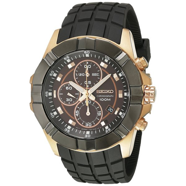 Seiko Men's Stainless Steel Rose Gold Tone Chronograph Watch with a Black Rubber Strap and a Date Window