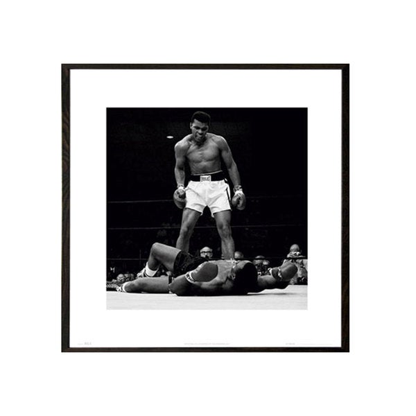 Muhammad Ali vs Sonny Liston Walnut Wood 16-inch x 16-inch Architect Frame Print