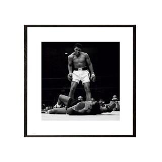 Muhammad Ali vs Sonny Liston Walnut Wood 16-inch x 16-inch Architect Frame Print