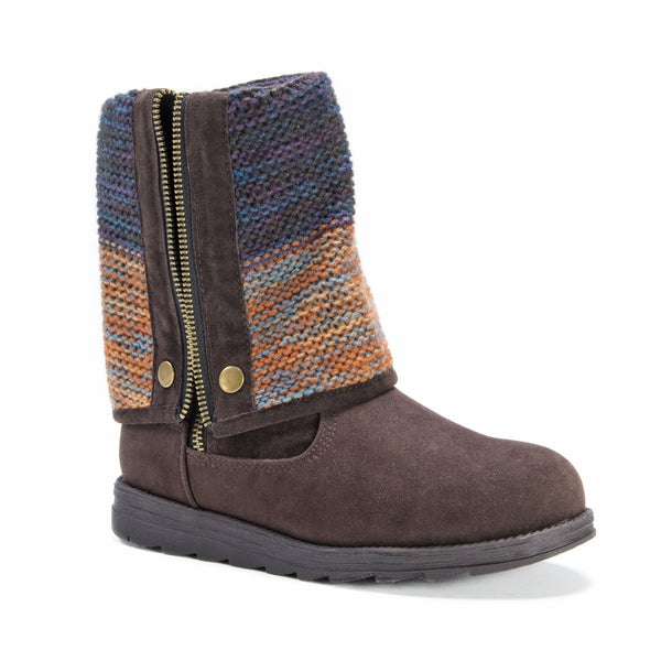 Muk Luks Women's Demi Dark Brown Polyester, Faux Fur, and Faux Suede Boots