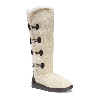 Muk Luks Women's Felicity Off-white Polyester and Faux Fur Boots