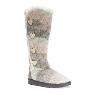 Muk Luks Women's Felicity White Polyester/Faux-fur Boots