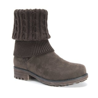 Muk Luks Women's Kelby Brown Polyester/Faux-suede/Faux-fur Boots