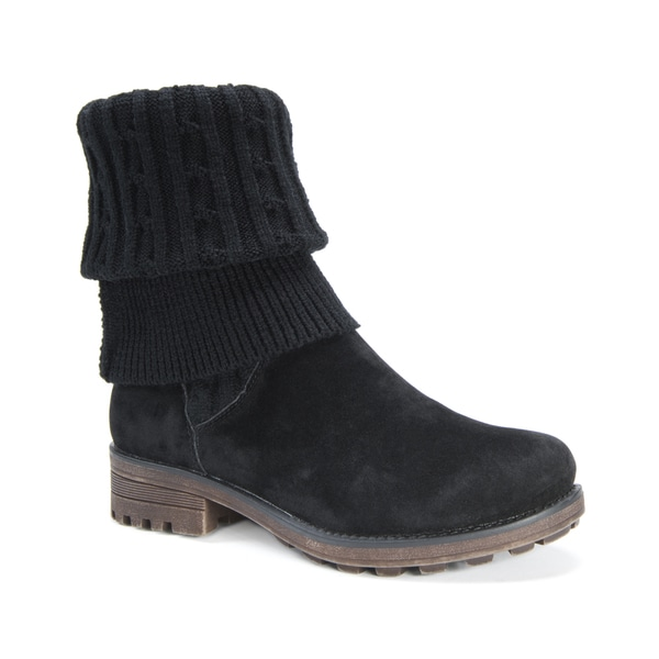 MUK LUKS Women's Kelby Black Faux Fur/Faux Suede/Polyester Ankle Boots