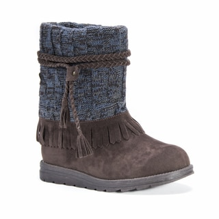 MUK LUKS Women's Rihanna Brown Faux Suede, Polyester Mid-calf Boots