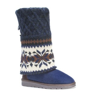 MUK LUKS Women's Shawna Blue/Multicolor Polyester and Faux-fur Boots