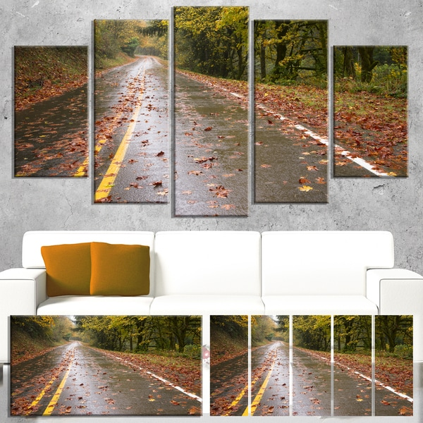 Wet Rainy Road in Forest - Landscape Photo Canvas Art Print