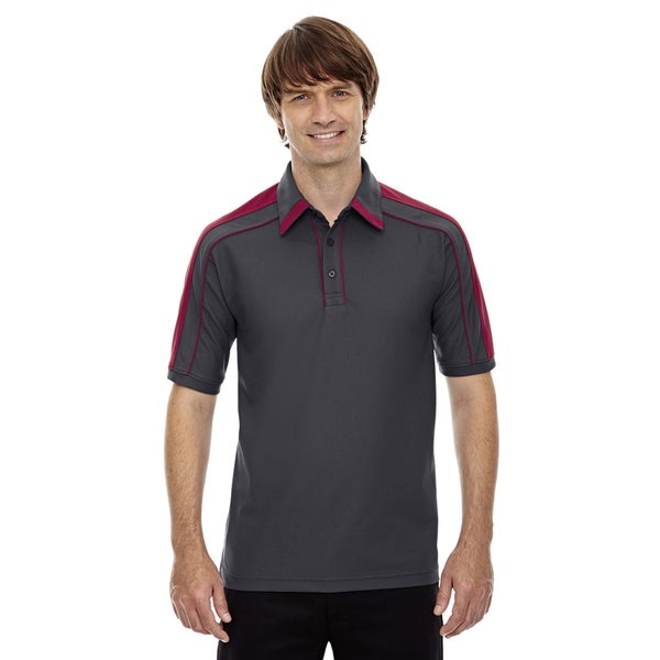 Sonic Men's Black Silk/Sport Red Performance Polyester Pique Polo T-shirt