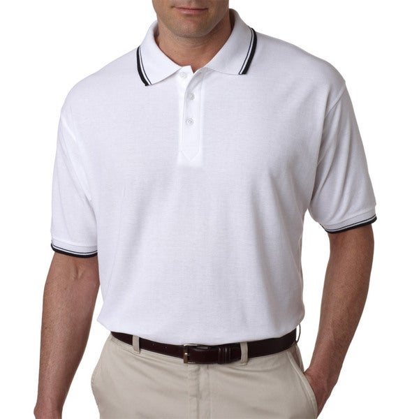 Men's Whisper Pique Black/White Short-sleeved Polo T-Shirt