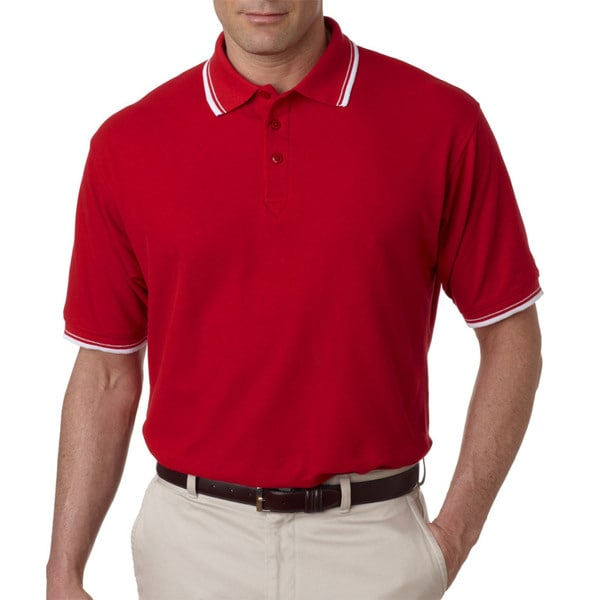 Men's Red and White Short-sleeve Whisper Pique Polo T-shirt