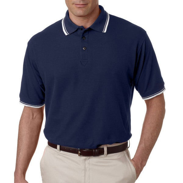 Men's Whisper Pique Navy and White Short-sleeved Polo T-shirt