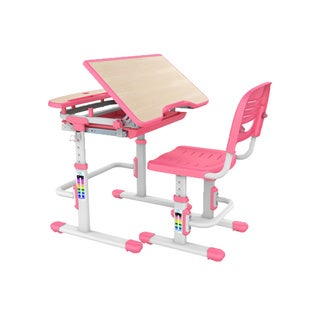 Beige Steel Adjustable Height Children's Desk and Chair Set