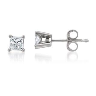Montebello Jewelry 14k White Gold 1/2ct TDW Princess-cut White Diamond Stud Earrings (H-I, I1-I2)