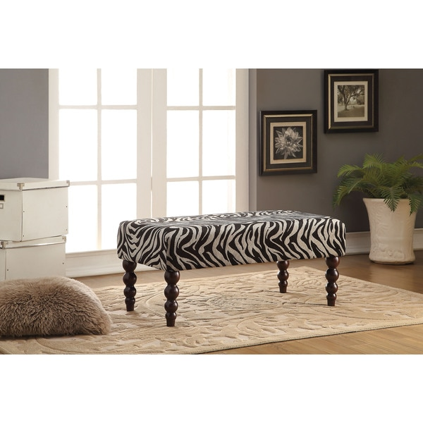 Alysha Leopard/Black Fabric Rubberwood Bench
