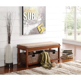 Light Brown Microfiber and Walnut Letha Bench with Storage