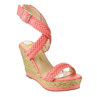 Chase & Chloe Women's Black/Pink/Beige Faux Leather Espadrille Sandals