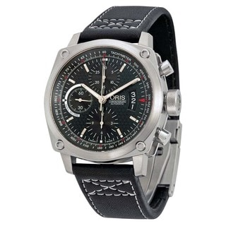 Oris Men's 64976324164LS 'BC4 Der Meisterflieger' Chronograph Automatic Black Leather Watch