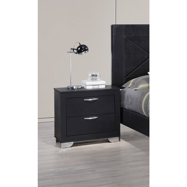 Lyke Home Bree White/Black MDF/Laminate Nightstand
