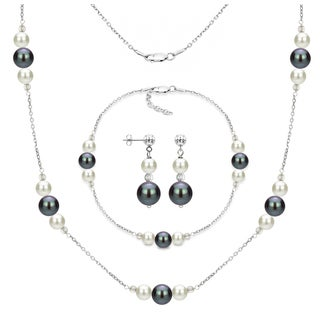 DaVonna Sterling Silver White and Black Freshwater Pearl Necklace Bracelet and Stud Dangle Earring Set.