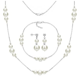 DaVonna 3-piece Sterling Silver White Freshwater Pearl Necklace Bracelet and Stud Dangle Earring Set