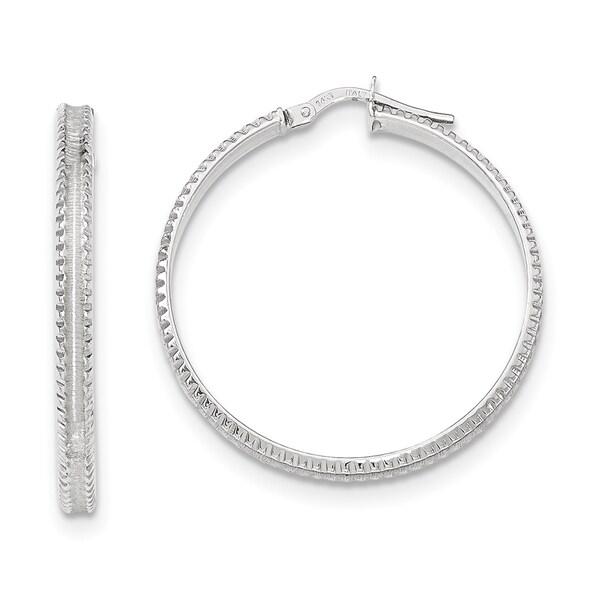 Versil 14k White Gold Polished Ridged Edge Concave Hoop Earrings
