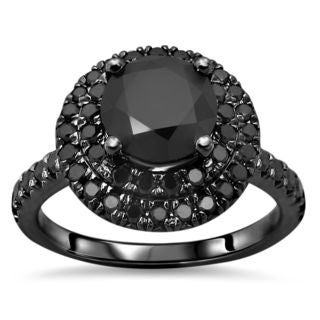 Noori 14k Black Gold 2 ct TDW Certified Black Round-cut Diamond Double Halo Engagement Ring