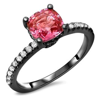 Noori 14k Black Gold 1 2/5ct TGW Pink Cushion-Cut Sapphire Diamond Engagement Ring (SI1/SI2, F/G)