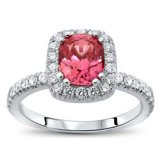 Noori 18k White Gold 1 3/4ct TGW Pink Cushion-Cut Sapphire Diamond Engagement Ring (SI1/SI2, F/G)