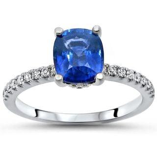 Noori 14k White Gold 1 2/5ct TGW Blue Cushion-Cut Sapphire Diamond Engagement Ring (SI1/SI2, G/H)
