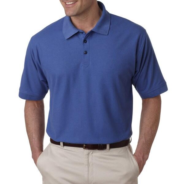 Whisper Men's Pique French Blue Polyester Polo T-shirt