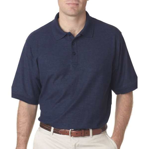 Whisper Men's Blue Polyester Short Sleeve Polo Shirt
