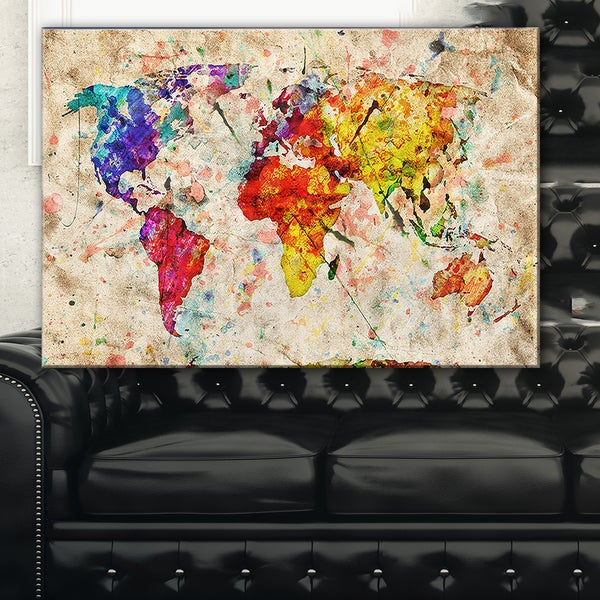 Vintage World Map Watercolor - Maps Painting Canvas Art Print