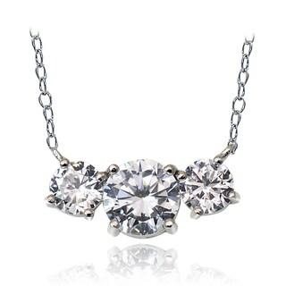 Icz Stonez Sterling Silver 2.5ct TGW Cubic Zirconia Three Stone Necklace