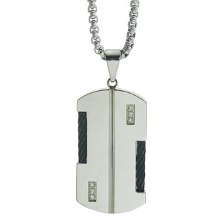 .09-carat Diamond Black Braided Wire Stainless Steel Dog Tag Necklace