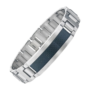 Men's Tungsten ID-style Bracelet with Black Carbon Fiber Center