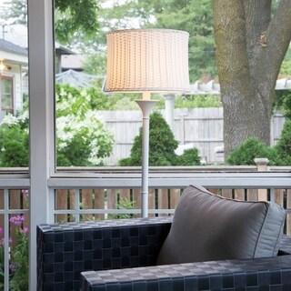 White Metal and Plastic 59.5-inch Outdoor Basketweave Floor Lamp
