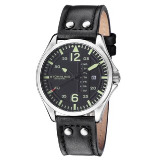 Stuhrling Original Men's Quartz Aviater Leather Strap Watch