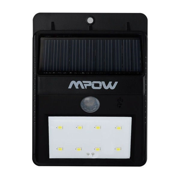 Mpow Black Solar-powered Motion Sensor Outdoor Light with 8 LED Bulbs