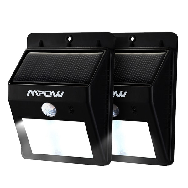 Mpow Black Plastic Solar-powered Wireless 8-LED Security Motion Sensor Light Outdoor Wall Garden Lamp