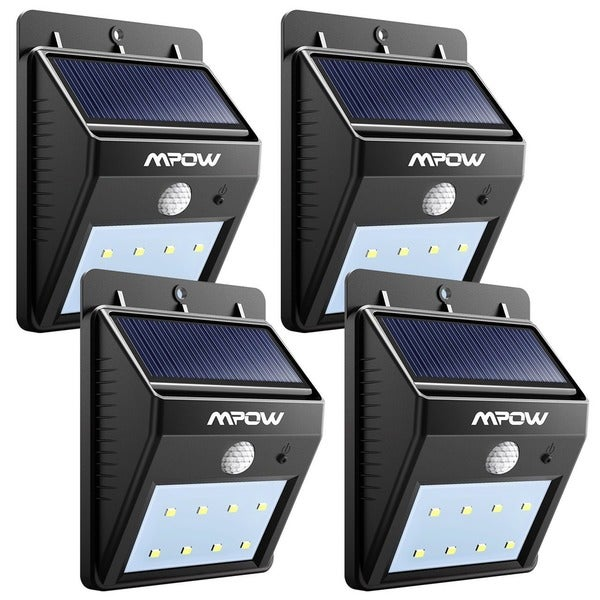 Mpow Black Plastic Solar-powered Wireless Security Motion Sensor Light Outdoor 8 LED Bulb Lamp (Pack of 4) 19422868