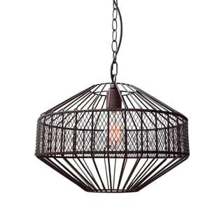 Warehouse of Tiffany Irina 1-light Black Metal 16-inch Octagonal Edison Pendant with Bulb