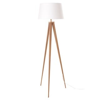 Euro Style Collection Berlin Off-white, Tan Fabric, Wood Tripod Floor Lamp