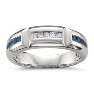 Montebello Jewelry 14k White Gold Men's 2/5ct Blue Sapphire and 1/5ct TDW White Diamond Wedding Band (H-I, SI2-I1)