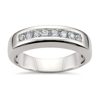 Montebello Jewelry 14k White Gold Men's 1/2ct TDW White Diamond Comfort-fit Wedding Band (H-I, SI1-SI2)