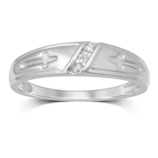 Unending Love 10k White Gold 0.03-carat IJ I3 Diamond Accent Men's Ring