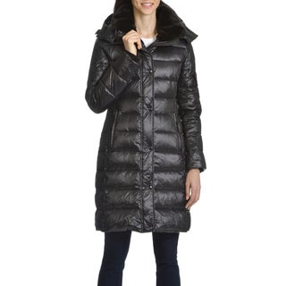 S13 Women's Black Down and Nylon Quilted Faux Fur Trim Collar Coat