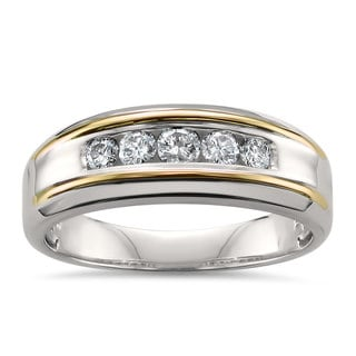 Montebello Jewelry 14k Two-tone Gold Men's 1/2ct TDW White Diamond Wedding Band (H-I, SI2-I1)