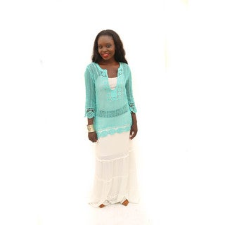 Hadari Women's (2 Piece Set) Outfit Blue Long Sleeve Round Neck Crochet Top and White Maxi Skirt With Embroidered Elastic Waist