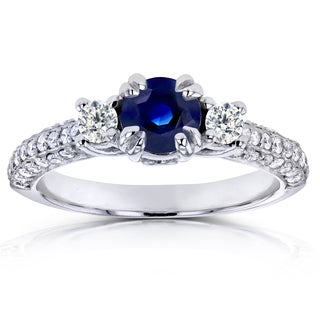 Annello 14k White Gold Sapphire and 1/2ct TDW Diamond Three Stone Engagement Ring (H-I, I1-I2)