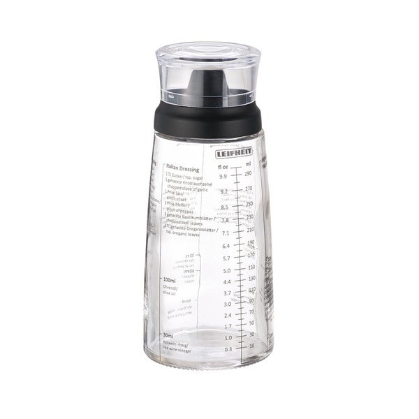 Leifheit Black Stainless Steel and Glass Salad Dressing Shaker